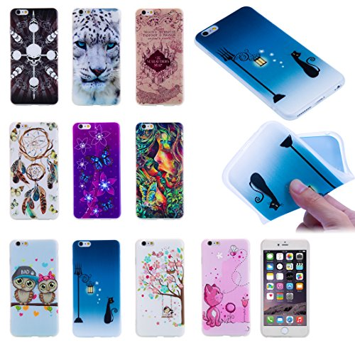 iPhone 6 Plus Coque, iPhone 6s Plus Coque, Ultra mince antichoc souple en gel TPU Bumper souple en caoutchouc de silicone de protection Peau avec anti-rayures pour Apple iPhone 6 Plus/6s Plus 14 cm iP Coupled Owl