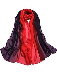 IMJONO Mode aux Femmes Dame Echarpes et foulards Pente Couleur Longue  Emballage Châle Mousseline ... 149b6080ee0