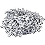 1 mm cuerda de alambre de aluminio ovalado Clip virola mangas Equipster 200 unidades