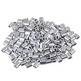 Bqlzr, boccole, clip, maniche, morsetti per fune, cavo da 1mm, ovale, in alluminio, confezione da 200