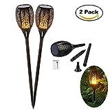 Youtoo Garten Solar Beleuchtung Garten Licht Solarlampe LED Flackerlicht Bewegungsfackel Tanzen Flamme IP65 wasserdicht 2pcs