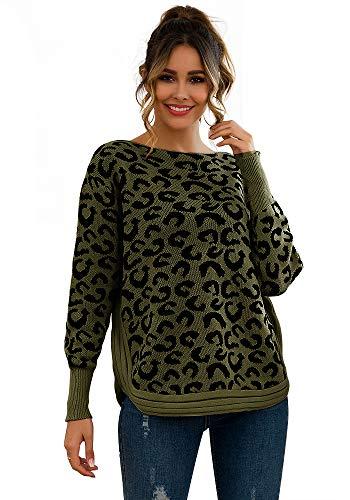 Mini Balabala Jersey de Punto para Mujer con Estampado de Leopardo, Talla Grande, Cuello Redondo Verde Militar. 36-38