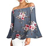 MRULIC Damen Frauen beiläufiges Blumendrucken Weg von der Schulter-T-Shirt Langarm-Oberseiten-Bluse(Grau,EU-44/CN-XL)