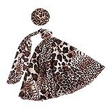 Hochzeitsfeier Ball Urlaub Kleidung Leopardenkleid Kleid W / Hut Fuer Barbie Puppe