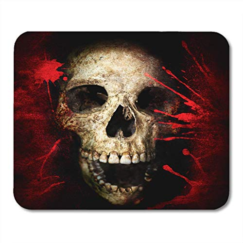 AOHOT Mauspads Red Black Skull and Blood Vintage Halloween Text Anatomy Bloody Bone Mouse pad 9.5