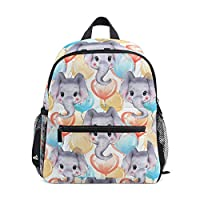 Kids Backpack Elephants and Balloons Kindergarten Preschool Bag for Toddler Girls Boys