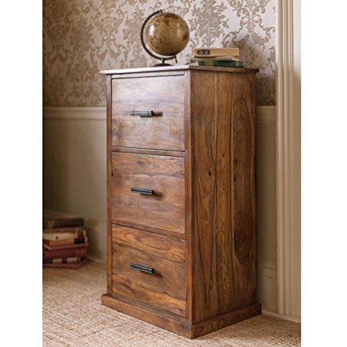 Mallani Sheesham Hardwood, Contemporary 3 Drawer Filing Cabinet