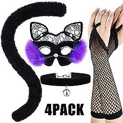 Conjunto de Disfraces de Gato de Halloween, Incluye Máscara de Gato Negro, Guantes Largos de Rejilla, Gargantilla Bell y Accesorios Lindos de Cola para Suministros de Disfraces de Halloween