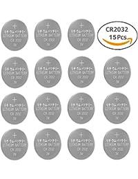 CR2032 3V Batteries Pilas de Litio Botón para Relojes Llaves de Antorchas (Pack de 15)