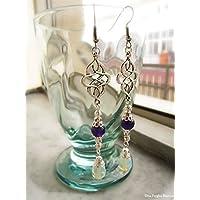 Orecchini con nodo celtico opalite perle di giada handmade