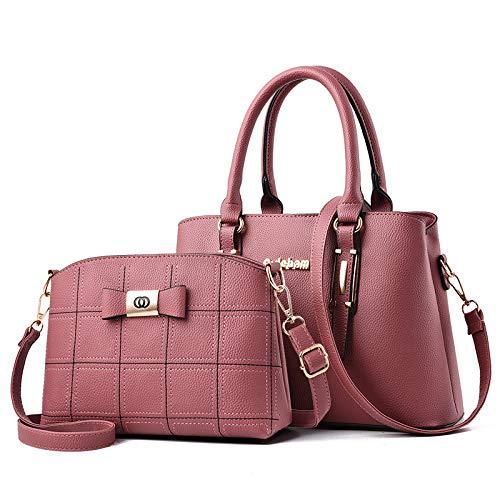 Umhängetasche - Europäische Und Amerikanische Mode Damen Big Bag One Shoulder Handtasche Pink (Gestickte Linie Mutter Paket)