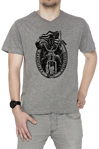 American Choppers Uomo V-Collo T-shirt Grigio Cotone Maniche Corte Grey Men's V-neck T-shirt