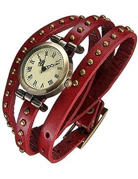 Fashion Retro Quarzuhr Armreif Leder Armbanduhr Damenuhr Uhr Rot