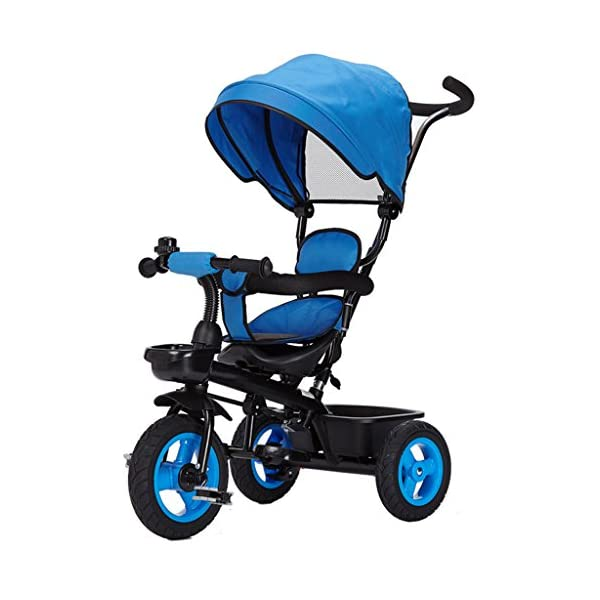 Pushchairs Detachable Rotating Seat Reclining Backrest Kids Children Trike Tricycle Wning Suitable for 6 Months -5 Years Old Kids Prams (Color : Blue)  Features assembled canopies without worrying about rain and sunshine,Safety features and safety belts are provided for safety. The pedal can be folded for more convenient use: the pedal can be folded to make travel more convenient. Upgrade the thickened sponge pillow to protect the baby's head and make the baby ride safer. 1