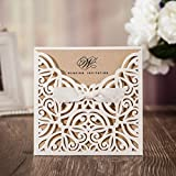 WISHMADE Hochzeitseinladungskarten weißer Blumen Lasercut Spitze Design für Heirat Geburtstags Party Abschluss Quinceanera ein Blanko Set 50 Stücke inkl Umschläge CW6179W