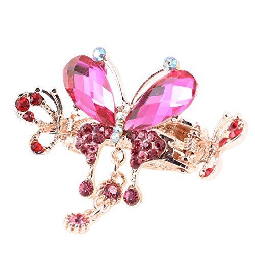 Papillon Pink Lady plastique Décor Cristal Forme Hairpin Cheveux Griffe clip