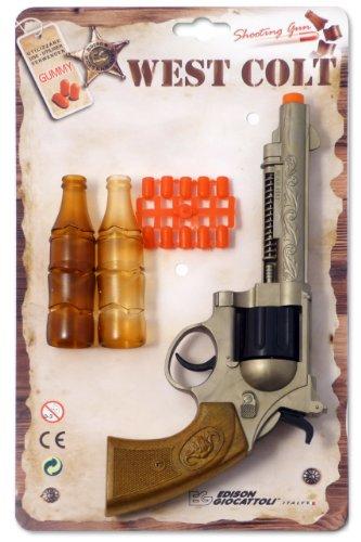 (EDISON Giocattoli Champions-Line West Colt: Spielzeugpistole in Revolver-Optik, für Cowboy- oder Polizeikostüm mit Gummi-Munition, 28 cm, schwarz/braun (E0465/32))