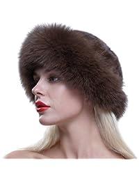 URSFUR donna lusso cappello di pelliccia vera pelliccia di volpe Pelliccia  Inverno Berretto Berretto Basco rotondo 2d46e76d926f