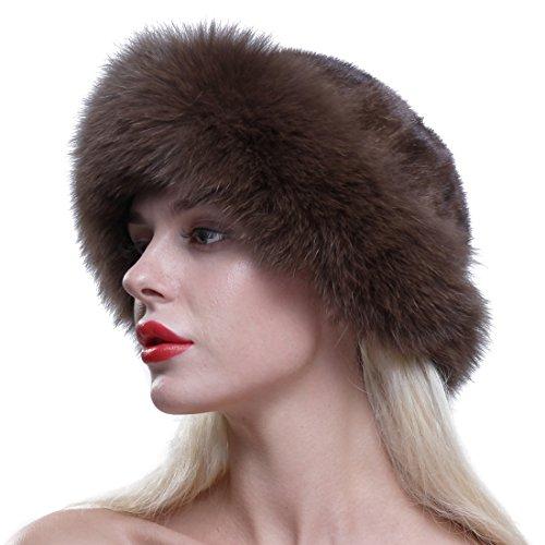 Ursfur donna lusso cappello di pelliccia vera pelliccia di volpe pelliccia inverno berretto berretto basco rotondo caffè taglia unica