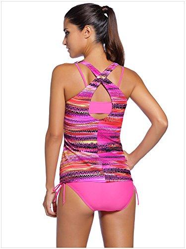 Damen Bandeau Drucken Bikini Slip set Mit Strandkleider Badeanzüge Bademode Rosa