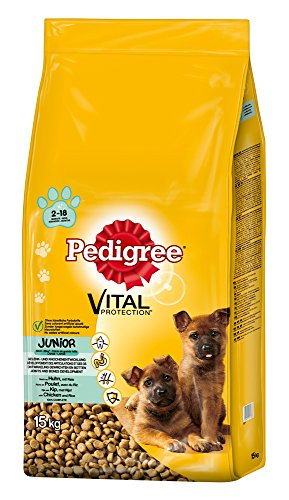 Pedigree Junior Maxi Hundefutter Huhn und Reis, 1 Packung (1 x 15 kg)