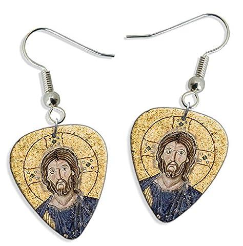 Empress Zoe Mosaic Hagia Sophia 2 X Logo Guitare Mediator Pick Boucles d'oreilles Earrings (GD)