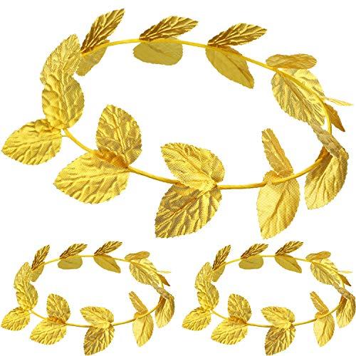 Krone Kostüm Feuer - meekoo Römischer Kopfschmuck Gold Blatt Kronen Kopfschmuck Römisches Blatt Stirnband Toga Kopfbedeckung (3 Stücke)