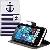 kwmobile Hülle für Nokia Lumia 630 - Wallet Case Handy Schutzhülle Kunstleder - Handycover Klapphülle mit Kartenfach und Ständer Anker Streifen Design Blau Weiß