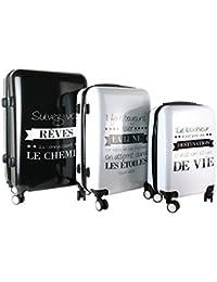 JET LAG VALISES X3 Bagage Cabine, 76 cm, Noir Blanc