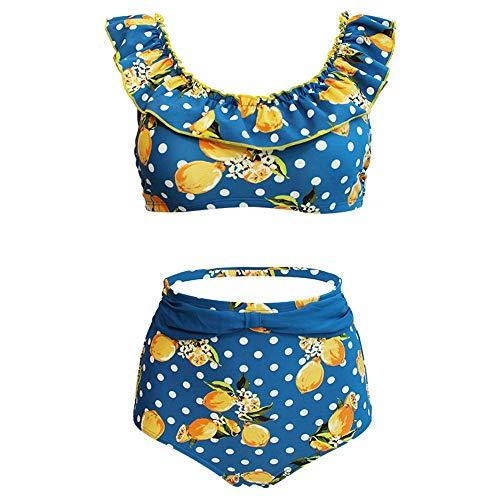 2 Stück Zitrone (Damen Geteilter Badeanzug Bikini Set Dame 2 Stück Tropische Zitrone Punkte Druckt Badebekleidung Hohe Taille Zweiteiler Bikini Badeanzug Bademode Sommer Schwimmen Surfen Kostüm Bikini Oberteil Bottom)