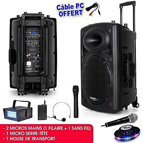 Öffentlichkeit Lautsprecheranlage Mobile MP3800W + 3Tonabnehmer port15vhf-bt + Kabel PC + Effekt UFO roundmagic + Mini Strobe