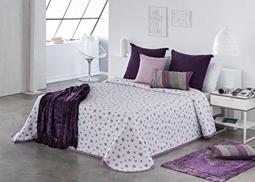 COTTON ART- Colcha PIQUE Infantil - Juvenil Mod. IZAR LILA cama de 90 (180 x 260 cm)- REVERSIBLE - 25% ALGODÓN-75% POLIÉSTER