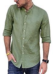 Idea Regalo - CAMICIE & dintorni Camicia Coreana Puro Lino Uomo TG. S, M, L, XL, XXL, 3XL Manica Lunga Art. A19 (S, Verde Militare)