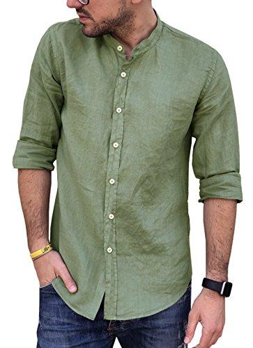 Puro lino camicia uomo coreana manica lunga tg. m, l, xl, xxl e 3xl primavera/estate 2018 (xl, verde militare)
