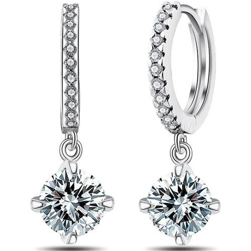 Silver Shoppee Passionate Rhodium Plated Crystal, Cubic Zirconia Metal Drop Earring  available at amazon for Rs.399