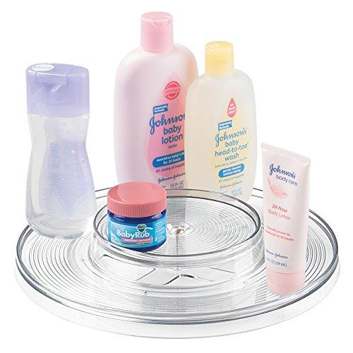 mDesign Baby Organizer - zweistufiger Drehteller für den Wickeltisch - ideale Aufbewahrung für Kommoden, Schränke und Schubladen - dreht um 360 Grad - optimal für Puder, Lotion und Shampoo - Baby-shampoo-lotion