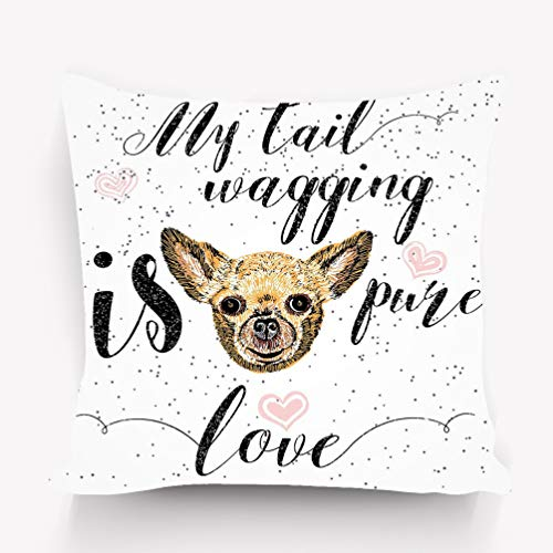 Kissenbezüge Throw Pillow Cushion Cover cute little smiling dog my tail wagging pure love lettering calligraphy motivational quote pet lover Decorative Square Accent Pillow Case 18 X 18 inches