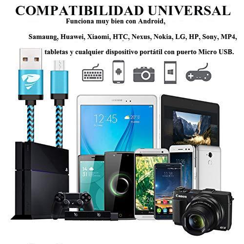 Aione Cable Micro USB [3Pack, 2M] Cargador Android -  Cable Cargador movil Trenzado de Nylon Compatible con Samsung Galaxy A10 S6 S7 J5 J7, Huawei P9 Lite P8 Lite,  HTC,  LG,  Sony, Xiaomi y más (Azul)