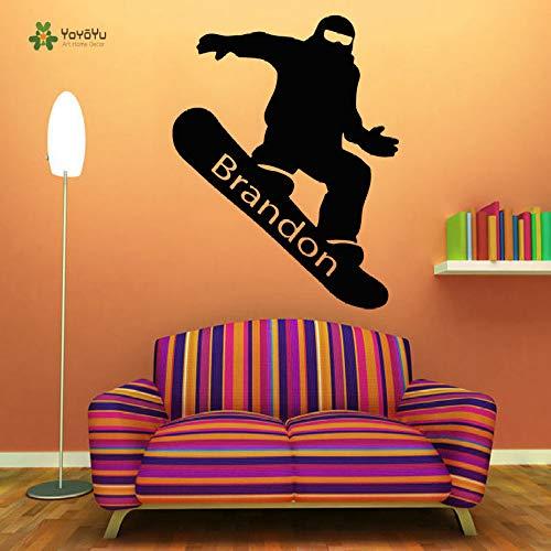 guijiumai Adesivo Murale Vinile Decorazione della Stanza Snowboard Nome Personalizzato Arte Adesivo Rimovibile Boy Room Decor Y 8 85X108 CM