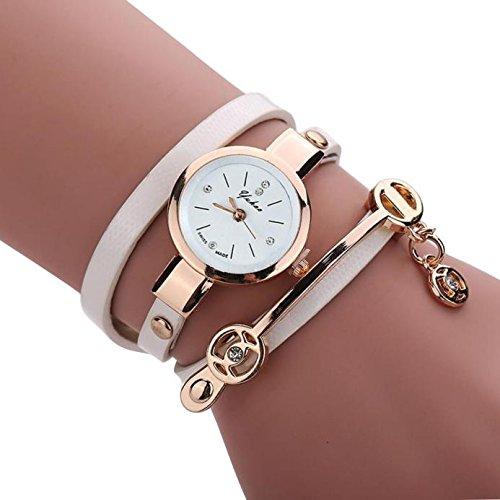 Sonnena Unisex Armbanduhren, Mode Ultra-Flach Metallband Armbanduhr Damenuhr Lederband Uhren Wrist Watch Frauen Outdoor Klassik Analoge Quarz Armband Handgelenk Uhr (Weiß)