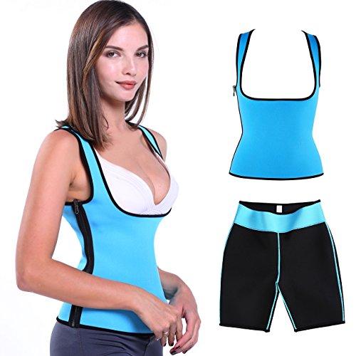 Damen Abnehmen Sauna-anzüge Korsett Schwitz-BH formende Shaper Joggen Training Blau M