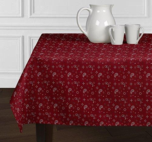 Ein luxehome Rot und weiß Bandana Country Western 4. Juli Vaterländischen Paisley Print Tischdecken Esszimmer Küche Rechteck länglichen 152,4x 259,1cm (Baumwolle Bandana Servietten)