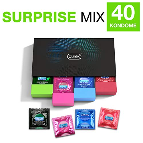 Durex Surprise Me Kondome in stylischer Box - Aufregende Vielfalt, praktisch & diskret verpackt - für sicheren Sex & extra Stimulation - 40er Großpackung (1 x 40 Stück)
