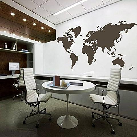 Mapa del mundo adhesivo decorativo de pared mundo país Atlas todo el mundo vinilo arte (marrón oscuro, mediano) por