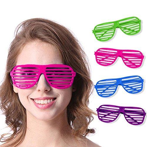 Gangster Kostüm Themen - Novelty Place [Neuheit Ort] Neon Farbe Shutter Brille 80er Jahre Party Schlitz Sonnenbrille für Kinder & Erwachsene - 12 Paare (4 Farben)