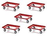 5x Transportroller rot mit Gummrädern für 60x40 Eurobehälter inkl. gratis Zollstock 5er Set