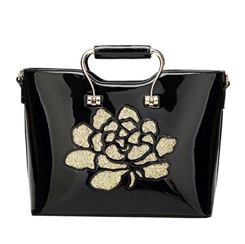 Damen-Mode Stickerei Lackleder Handtasche Handtaschen Umhängetasche Diagonal Paket Luxus Exquisite,Black-OneSize