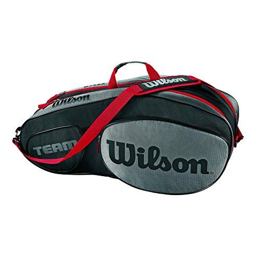 Wilson Damen/Herren Tennis-Tasche, für Profispieler, Team III 6 PK, Einheitsgröße, schwarz/grau, WRZ853806