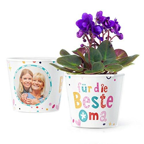 Facepot Oma Geschenk - Blumentopf (ø16cm) | Zum Geburtstag, Ostern oder Weihnachten mit Bilderrahmen für Zwei Fotos (10x15cm) Oma