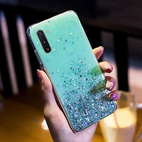 Herbests Kompatibel mit Samsung Galaxy Note 10 Handyhülle Glänzend Bunt Strass Sterne Glitzer Weich Silikon Hülle Ultra Dünn Crystal Clear Handytasche Durchsichtige Schutzhülle Case,Grün